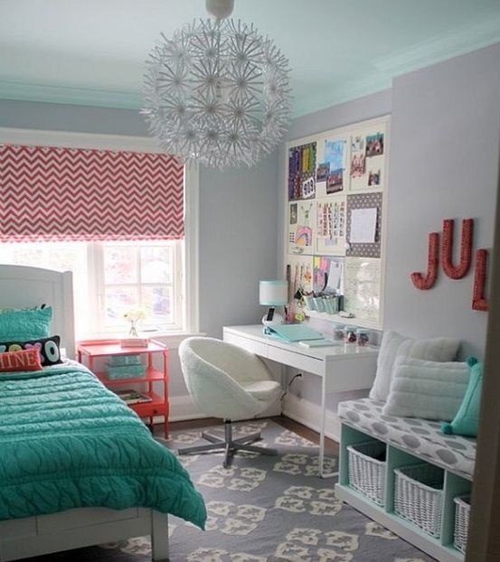 Very Cute Teal And Coral Bedroom