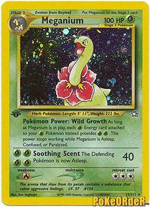 Pokemon Neo Genesis Card 11 - Meganium Holofoil Card $30.00-$40.00