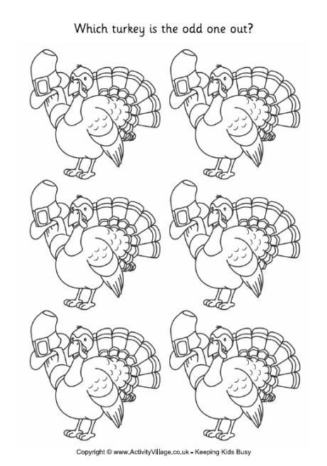turkey odd one out thanksgiving free thanksgiving coloring rh pinterest com