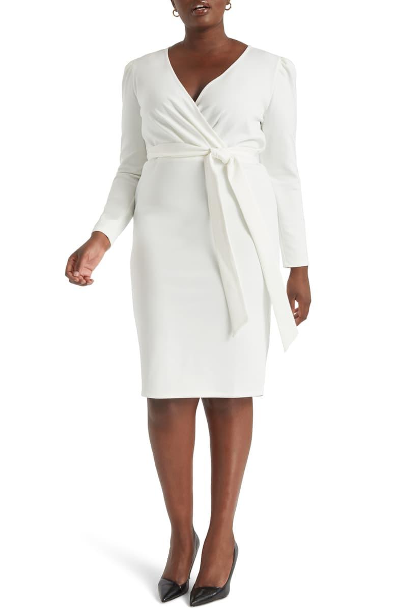 Eloquii Wrap Front Long Sleeve Sheath Dress Plus Size Nordstrom Long Sleeve Sheath Dress Dresses Sheath Dress [ 1196 x 780 Pixel ]