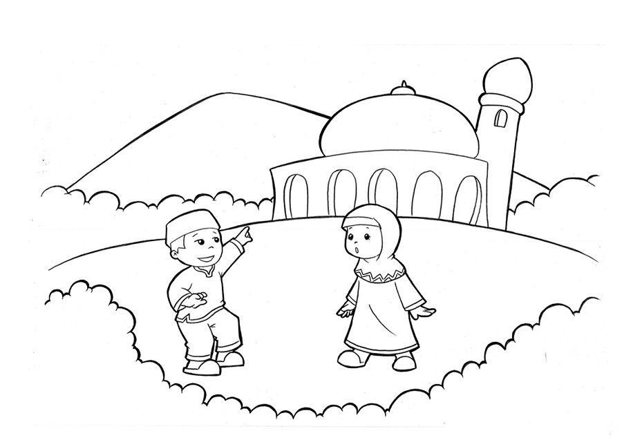 Gambar Mewarnai Kartun Muslim Buku Mewarnai Kartun Sketsa