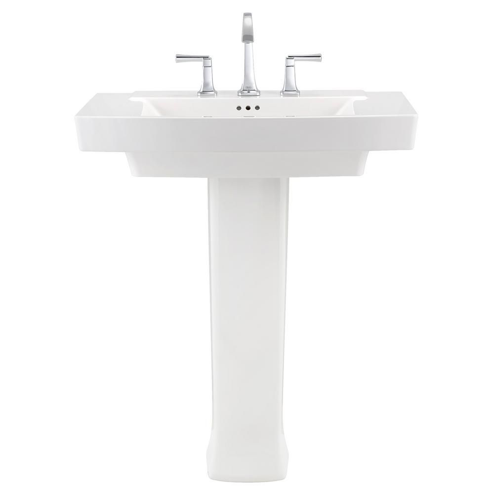 townsend pedestal sink in white with 8 in faucet holes guest bath rh pinterest com