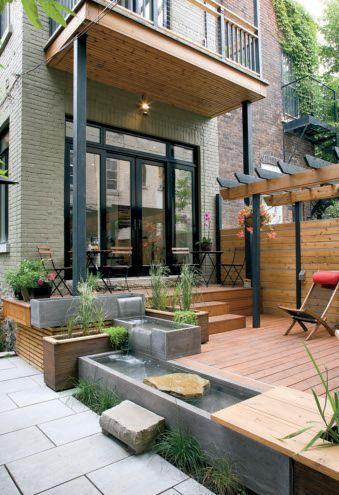 Bassins et jardinières en quinconce Rénovation maison - terrasse - maison en beton coule