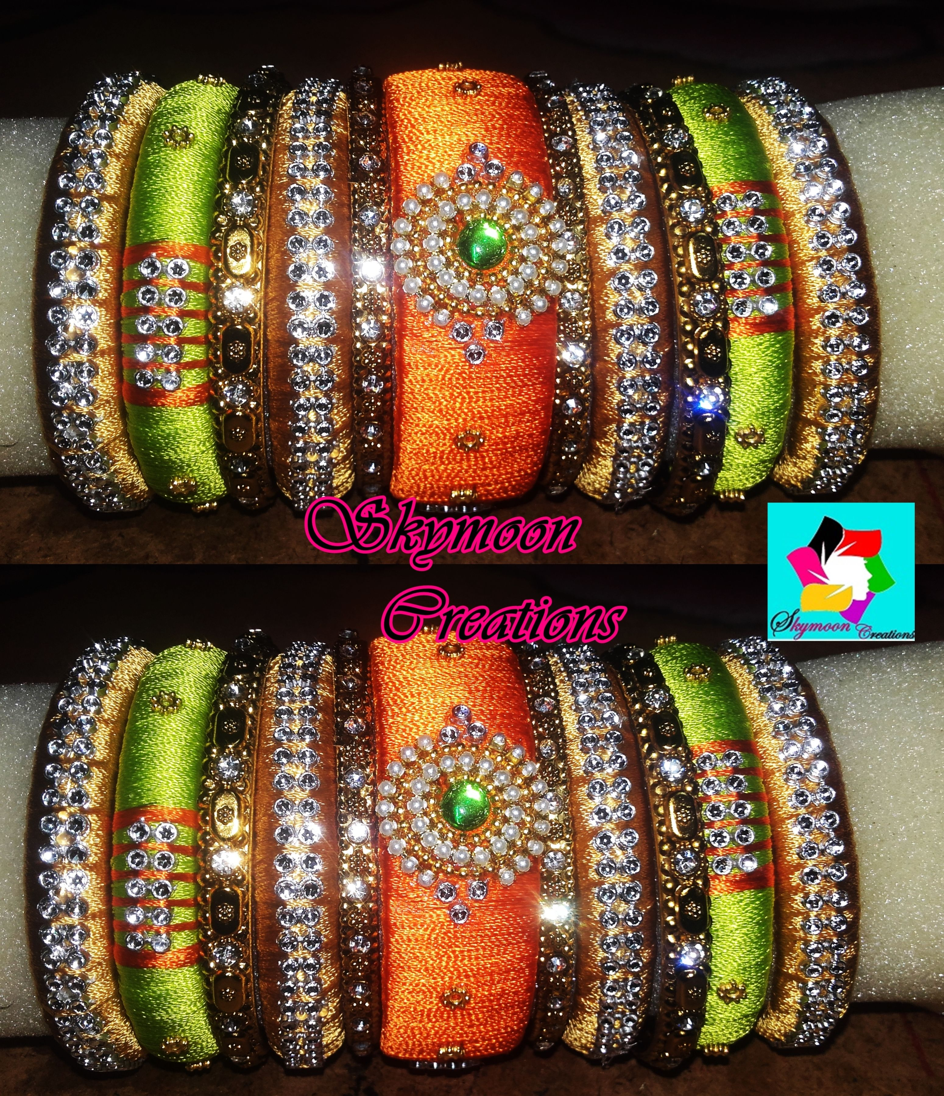 Orange With Parrot Green Color Ethic Indian Wedding Silk Thread Bangles Set Its Purely Handmade Products Whole Ers Are Also Welcome