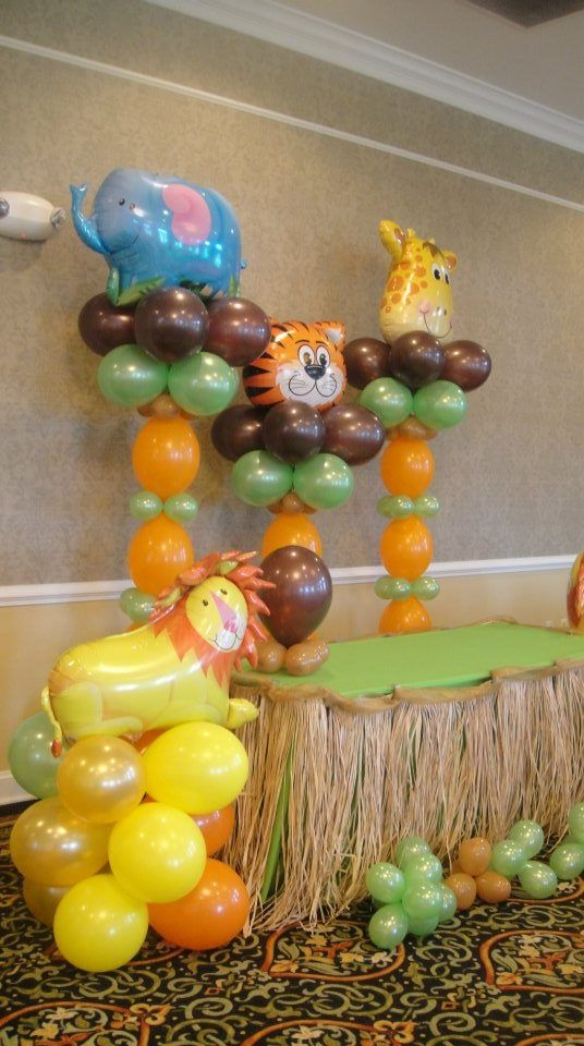 jungle theme cake table decoration kid s party decor kids party rh pinterest com