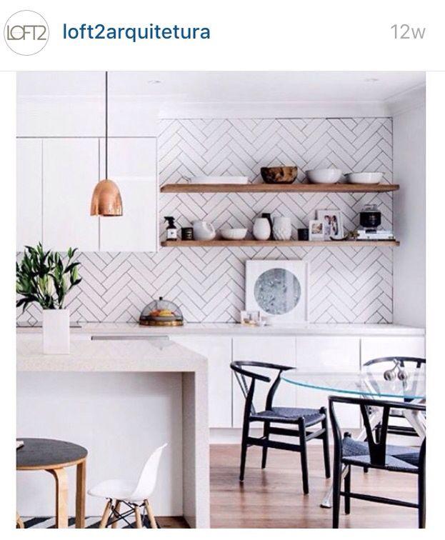 copper lighting wood white subway tile kitchen pinterest rh pinterest com au