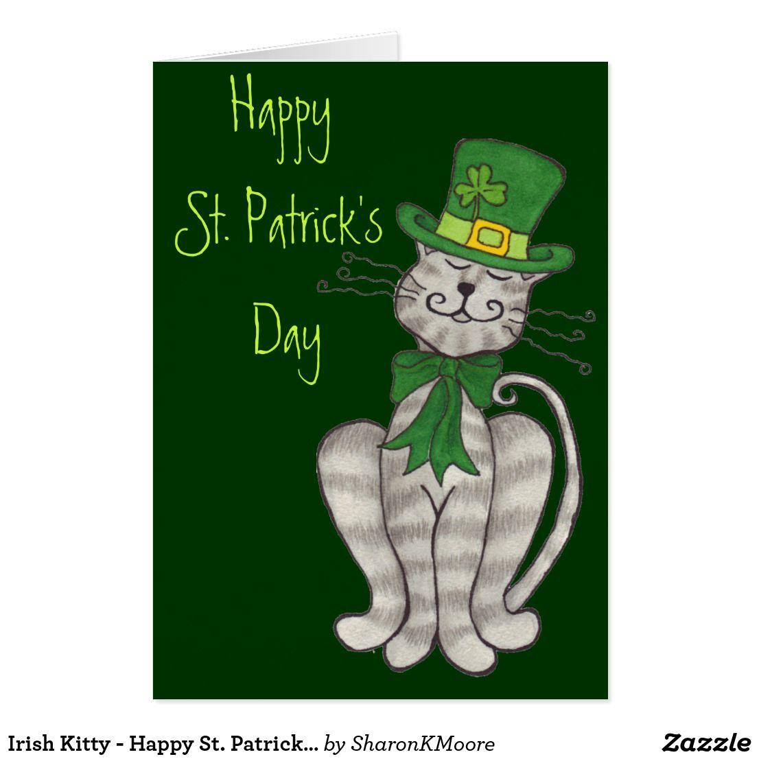 Irish Kitty Happy St Patrick S Day Card Zazzle Com In 2021 St Patricks Day Clipart Happy St Patricks Day Cards