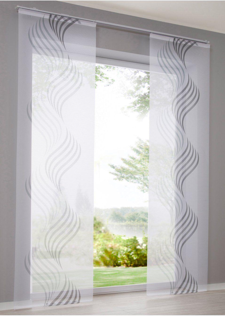 Moderne Fensterdekoration Mit Druck Weiss Grau Klettschiene Schiebegardine Gardinen Vorhange Gardinen