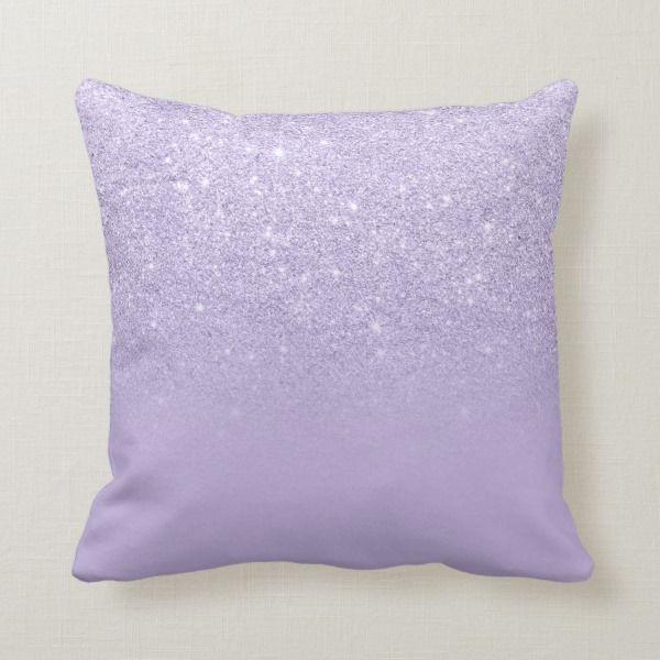 Stylish Purple Lavender Glitter Ombre Color Block Throw