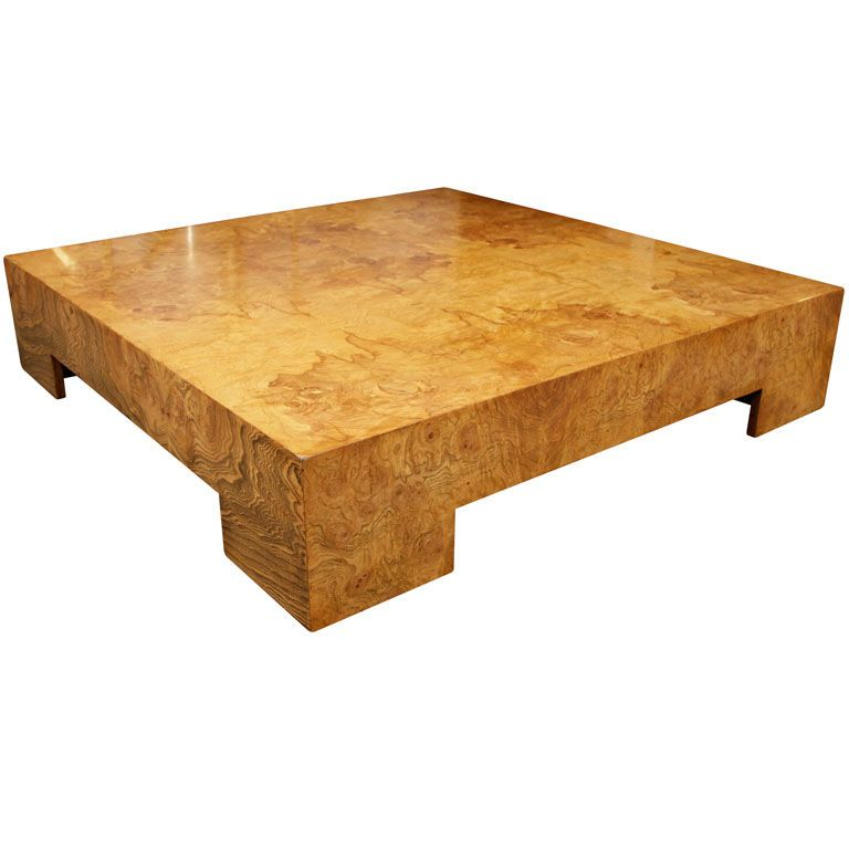 Parsons Style Square Burl Wood Coffee Table By Milo Baughman
