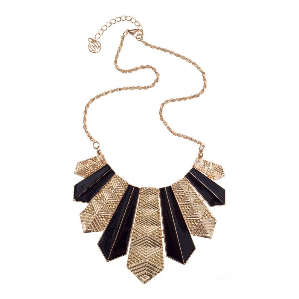Aztec Enamel Plate Necklace in BLACK #21343 - colette by colette hayman