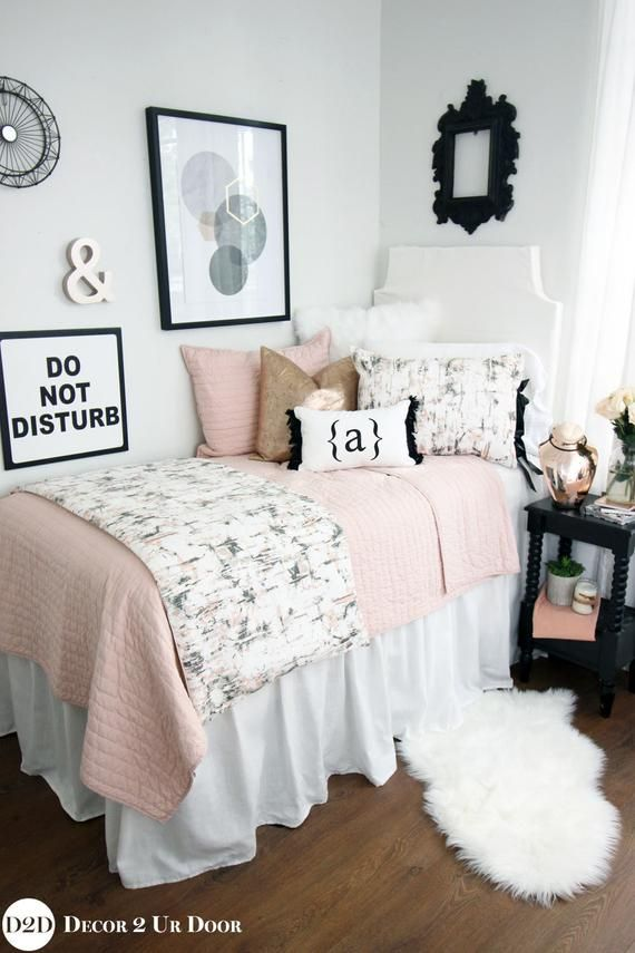 Black, Blush & Rose Gold Marble Dorm Bedding Set |Dorm Bedding Set