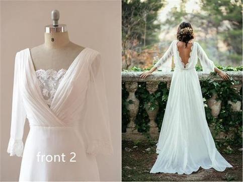 Chiffon Elegant Sexy Long Sleeves and Flirty Back Wedding Dress,13 #lacechiffon