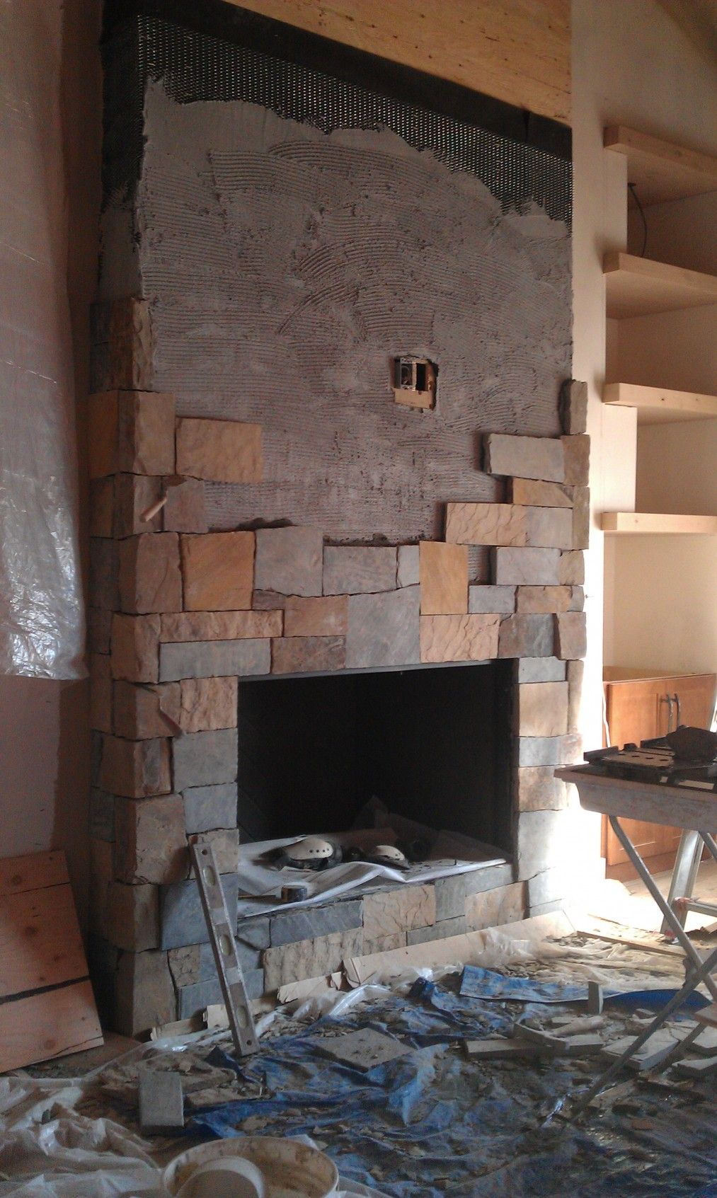Marvelous Remodel Stone Fireplace Ideas Part - 3: Marvelous Stone Fireplace Designs: The Exclusivity: Extraordinary Interior  Condo Remodel Stone Fireplace Design On Progress