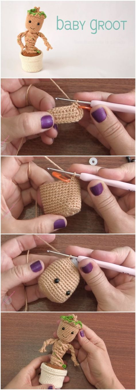 Crochet Baby Groot With Pot Amigurumi Tutorial Häkeln Pinterest