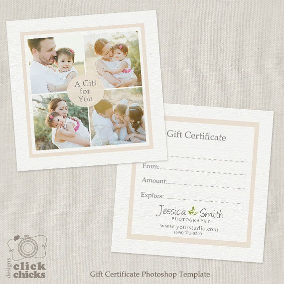 Photography Gift Certificate Template 005 C138 Instant Download
