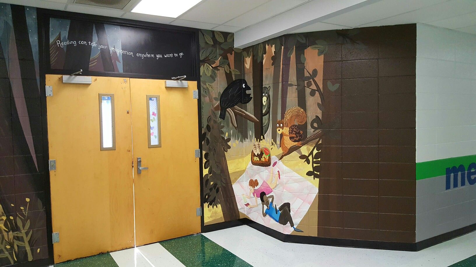Library Entrance Mural Media Center Mural Ringgold Primary School Right Side Man Cave Murals School Murals Mural
