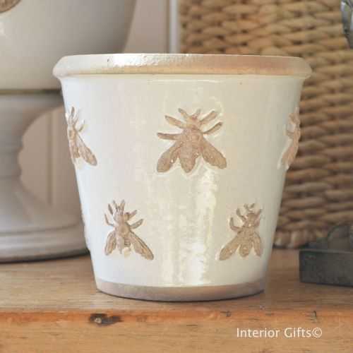 Rustic Bee Embossed Plant Pot Or Flower Pot Handmade In Antique Ivory Cream