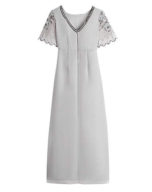 Scalloped Sleeve Sequin Maxi Dress | J D Williams | Silver ...