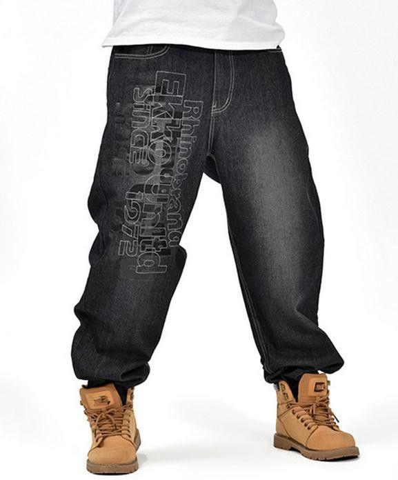 f6b5bd5bb02 Men s Black Baggy Jeans Hip Hop Designer Brand Skateboard Pants loose Style Plus  Size 30-46 True HipHop Rap Jeans Boy Trousers   Price   45.00   FREE ...