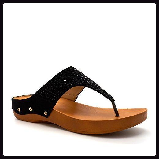 London Footwear , Damen Zehentrenner Schwarz schwarz
