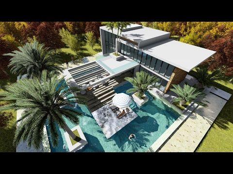 Sketchup Drawing 2 Stories Modern Villa Design With Exclusive Pool Youtube Modern Villa Design Villa Design Simple House Design