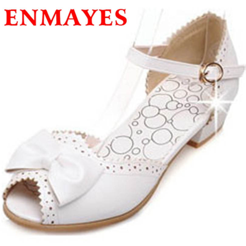 54.52$  Buy now - http://aliw4i.worldwells.pw/go.php?t=32367382028 - ENMAYES New Fashion Sweet Bow Shoes Sandals Round Toe Comfy Insole Ballet Women Sandals Flats Slip on Gladiator Sandals Women