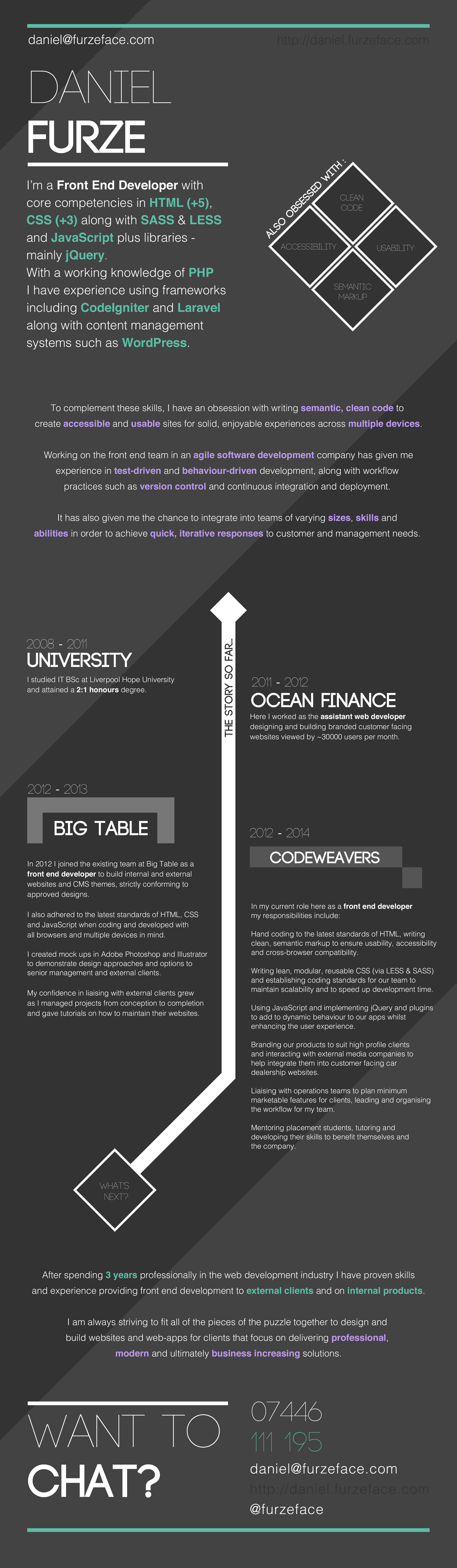Great Web Developer CV Like the timeline