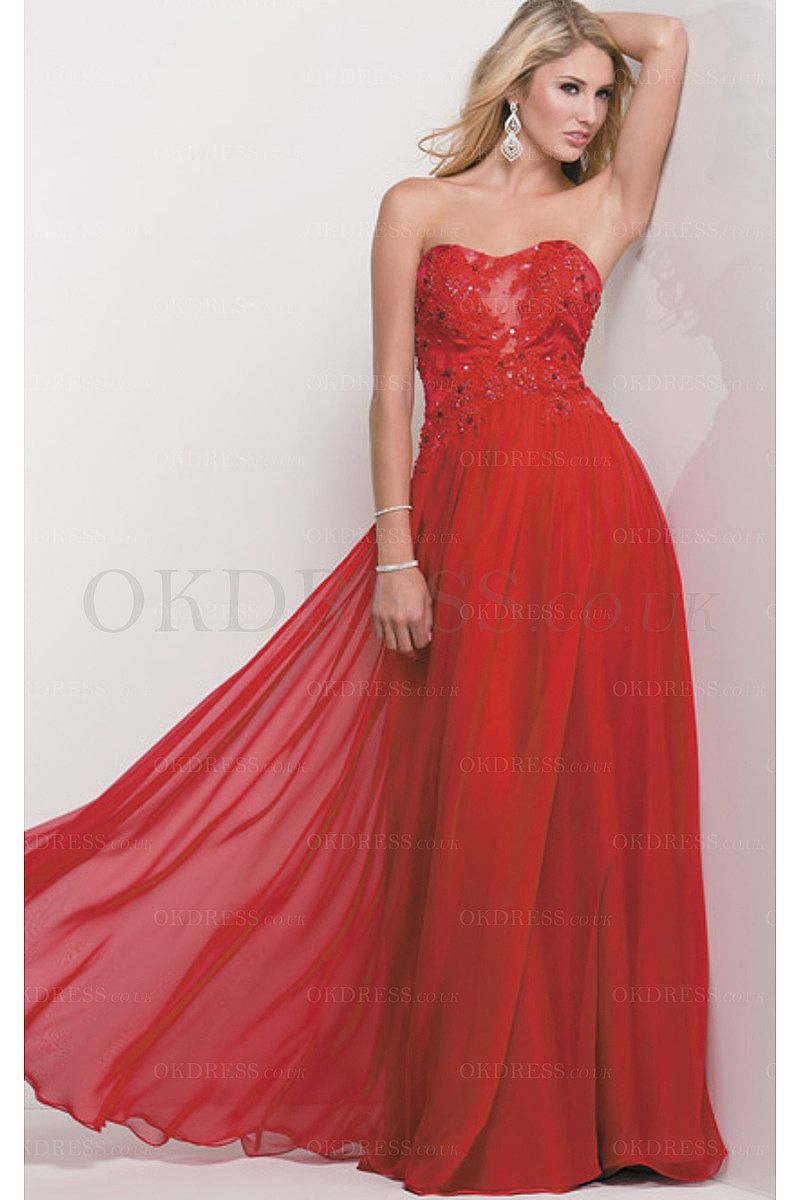Red sweetheart chiffon natural prom dresses by okdress uk prom