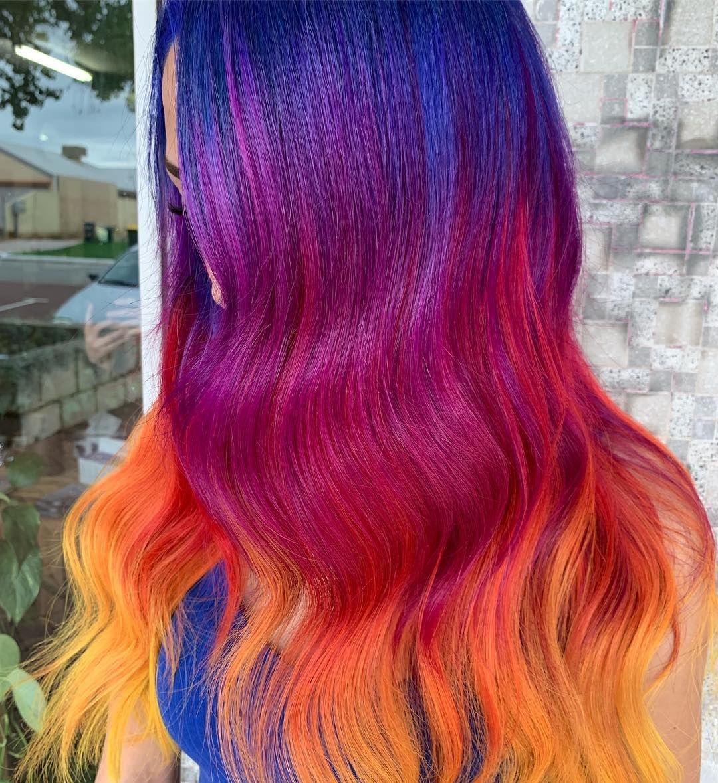 Vivids Color Melt Hair Color Inspiration Blue Purple Red Orange Yellow Hair Sunset Hair Hair Inspiration Color Hair Color Pastel