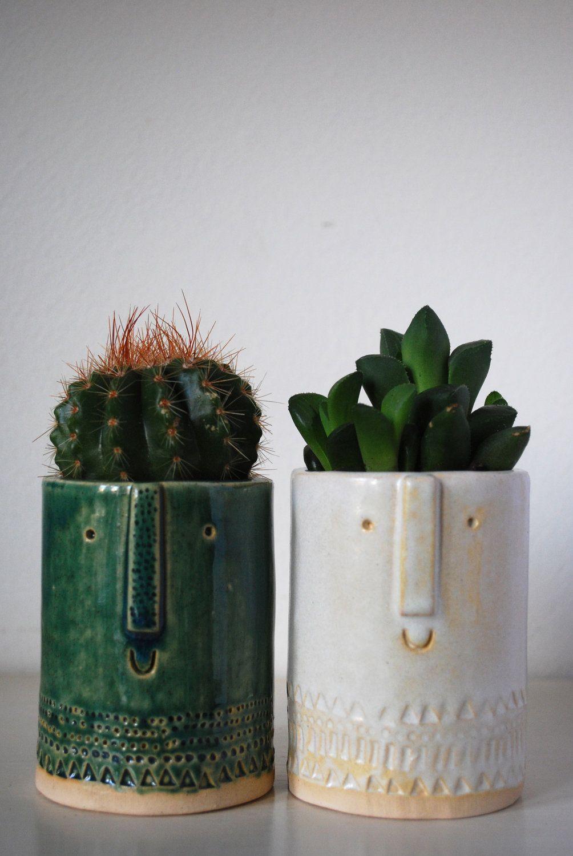 Little Succulent Or Cacti Pot In Semi Transparent Green Glaze