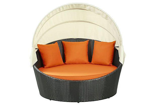 pomona canopy daybed espresso orange wish list patio daybed rh pinterest com