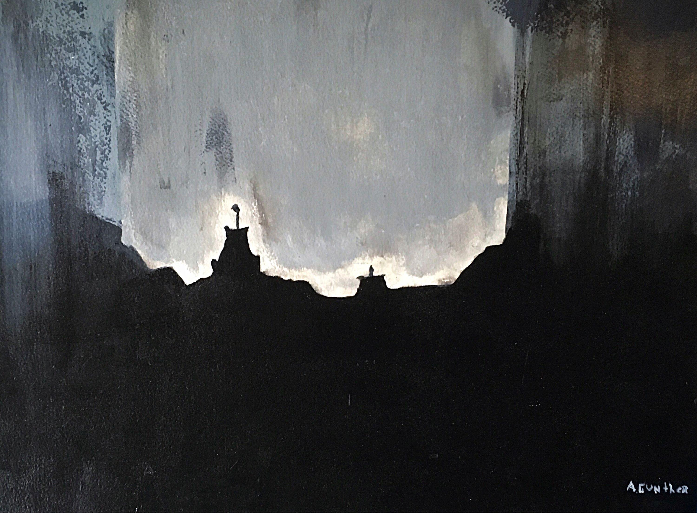 """""""Le Vieux Québec dans le Brouillard, """" acrylic on paper, 11x14."""
