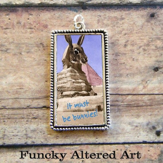 The Sphinx Bunny and the Great Pyramid Pendant by ProjectBunny, $12.00