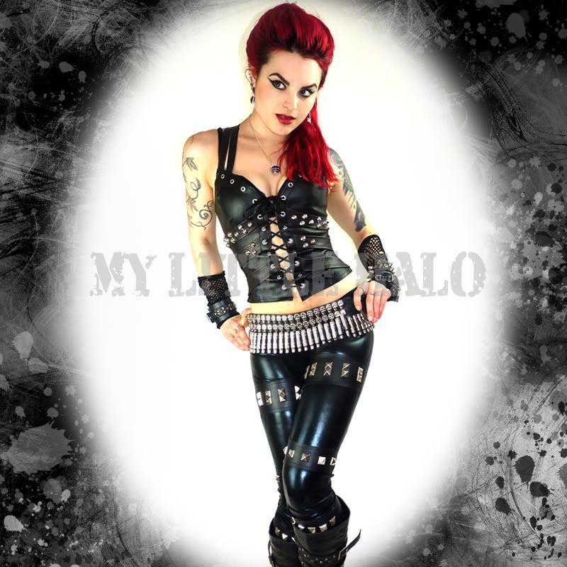 black wet look studded rocker leggings