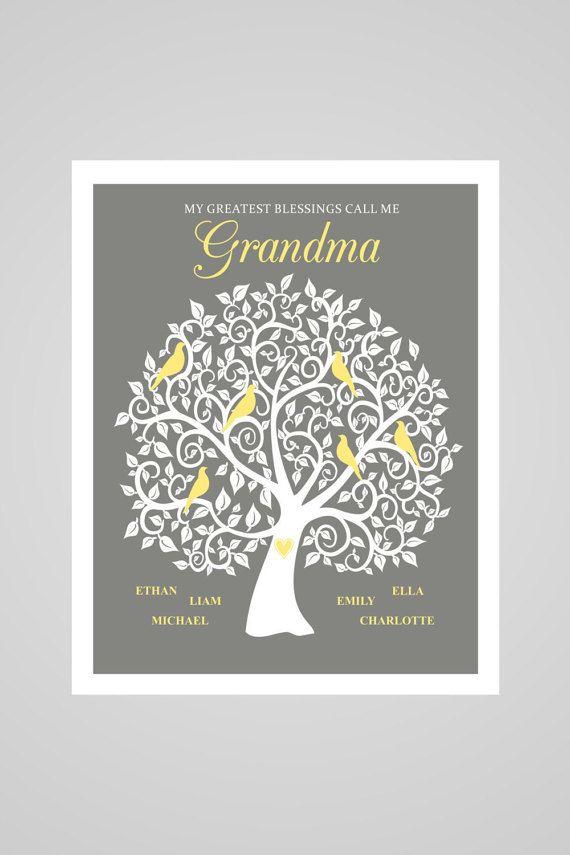 Grandma Family Tree Personalized Grandma Gift Christmas Gift