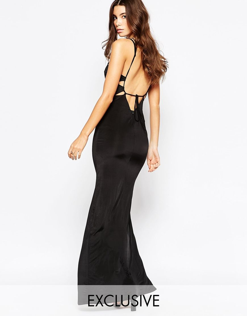 Naanaa plunge front strappy maxi dress with open back prom
