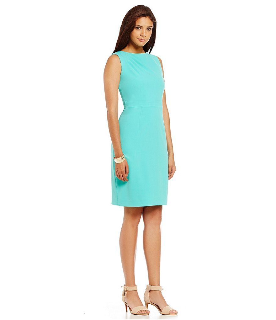 Blue Crepe Sheath Dress / wedding guest dress/ occasion/ office chic ...