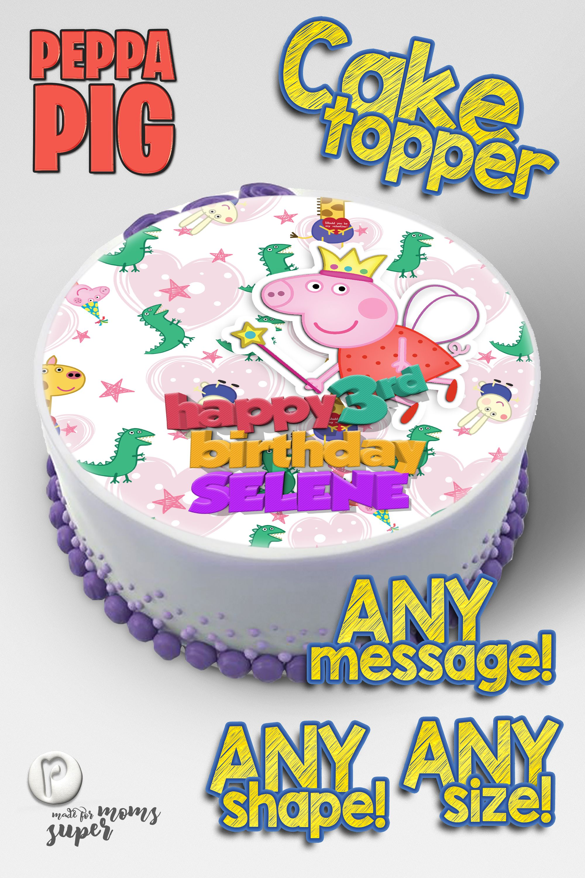 Fantastic Peppa Pig Cake Toppers In 2020 Edible Cake Toppers Cake Toppers Funny Birthday Cards Online Overcheapnameinfo
