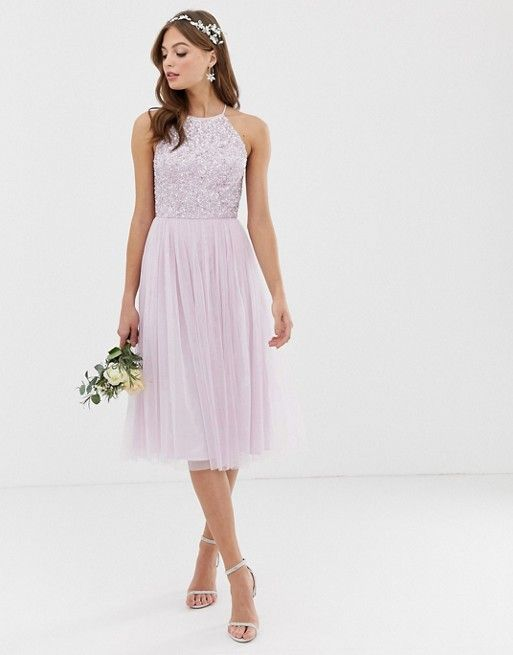 d01aaaba0 Maya Bridesmaid halterneck midi tulle dress with tonal delicate sequins in  soft lilac