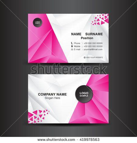Business Card Template Vector Illustration Pink Polygon Backgroundflyer Design Name