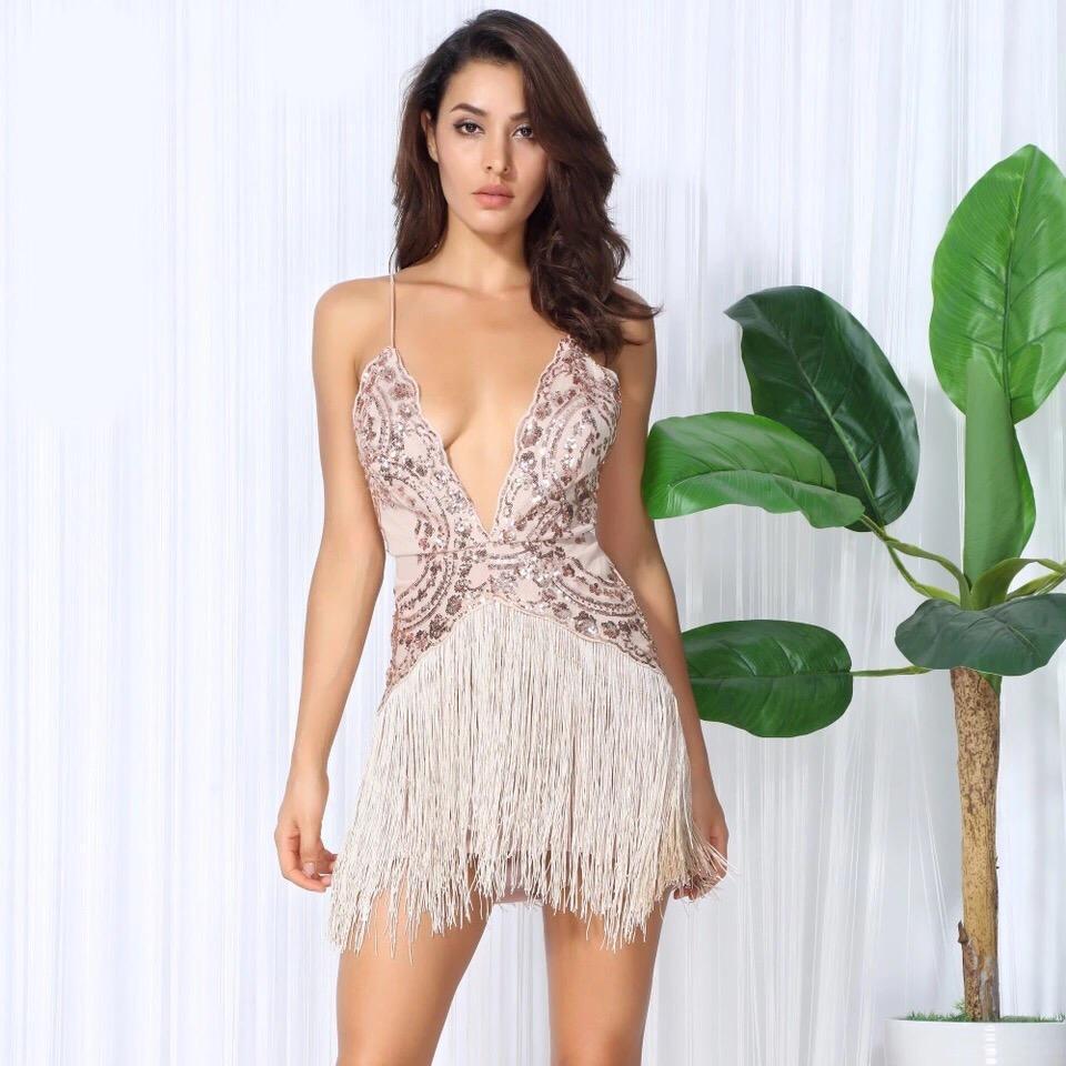 Plus Size Sequin Fringe Mini Dress, Black