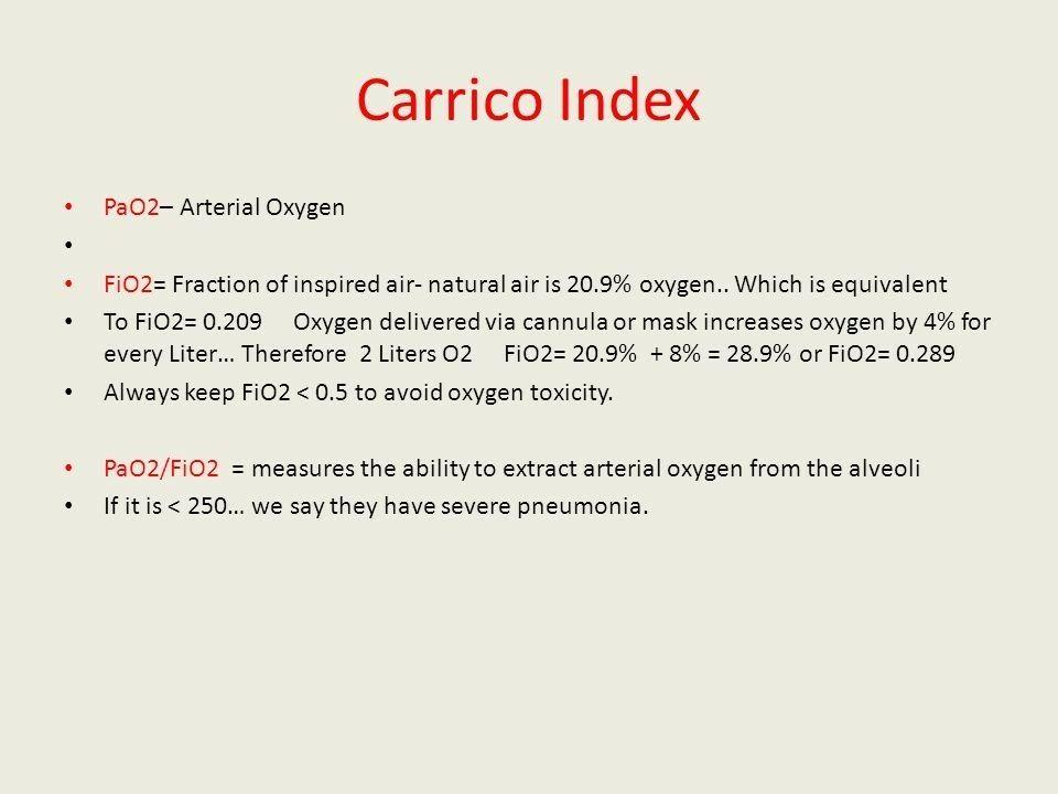 carrico index pao2 fio2 pneumonia ards 200 ards 300 acute lung injury