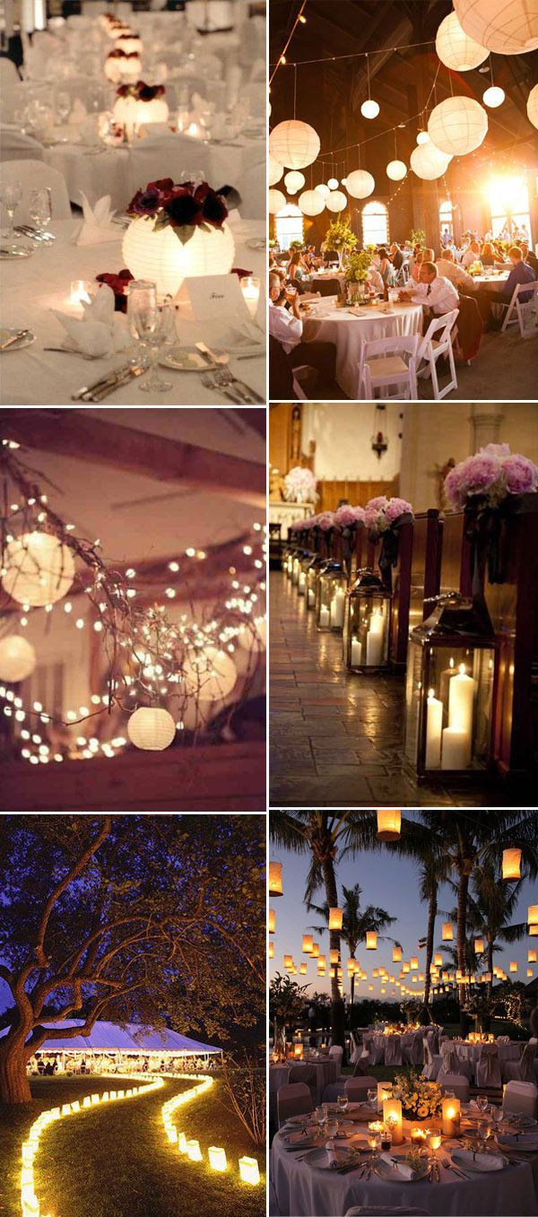 different lanterns inspired rustic wedding reception lighting