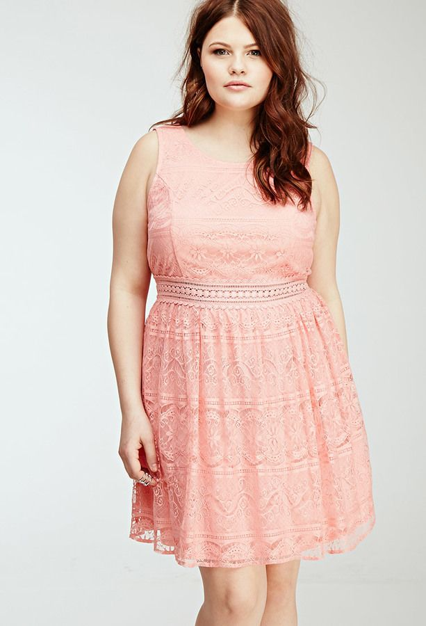 Plus Size FOREVER 21+ Floral Lace Overlay Dress | Coral / Salmon ...