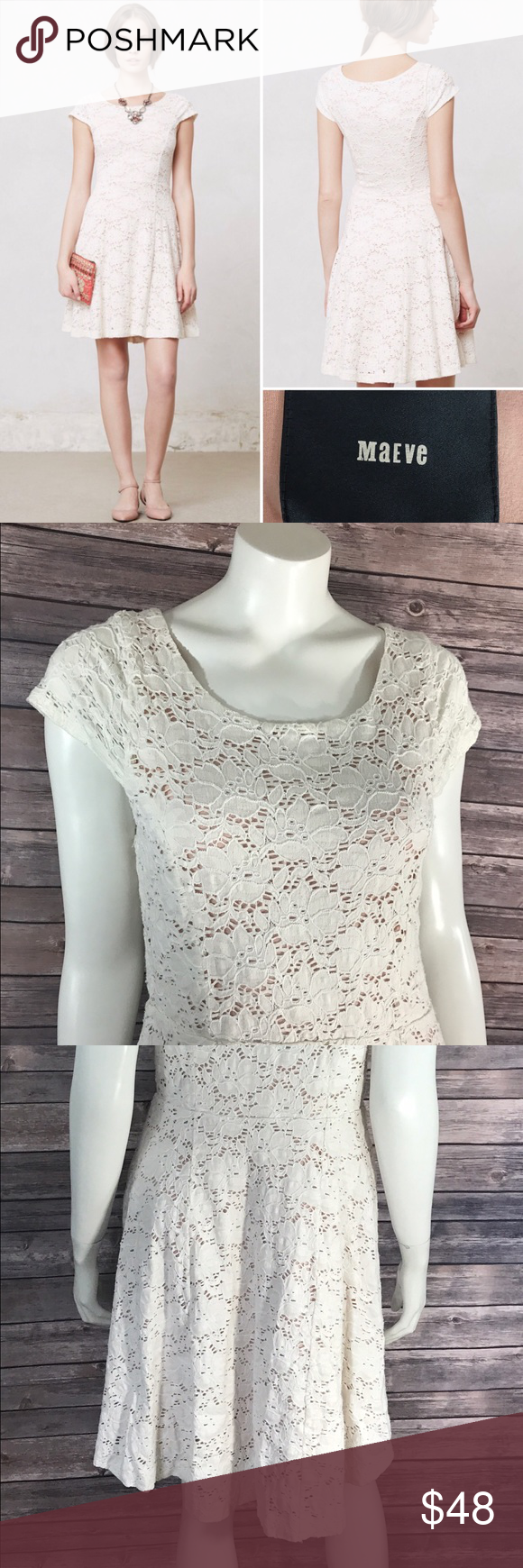 Maeve Dress Large Dayflower Lace Ivory Cap Sleeve Measurements: (in inches) - Underarm to underarm: 17 - Length: 38 - Waist: 32  Good, gently used condition Anthropologie Dresses