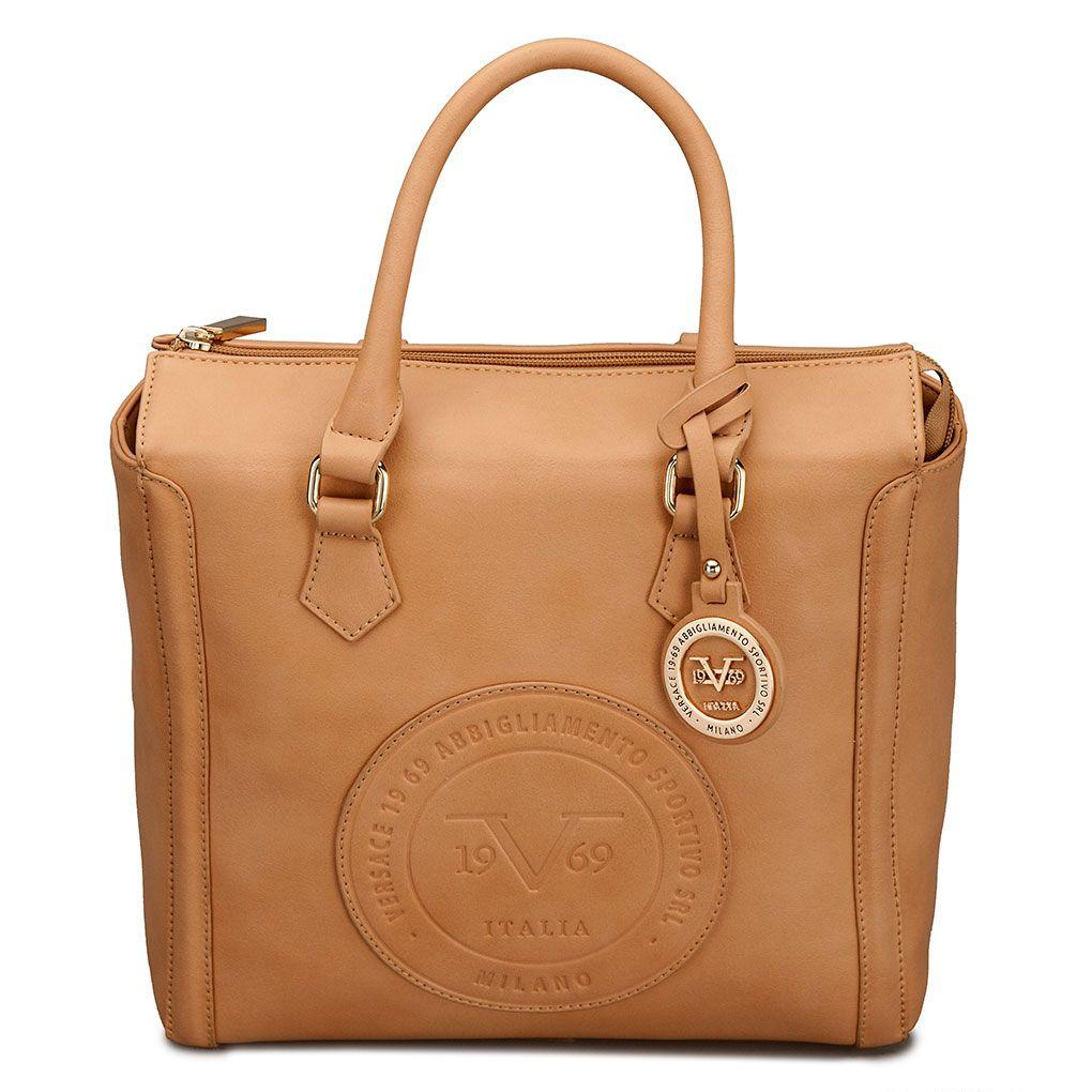 Versace 19.69 Abbigliamento Sportivo - Logo Embossed Square Satchel (Tan) -  www.bnyhandbags.com 6950414d9e38d