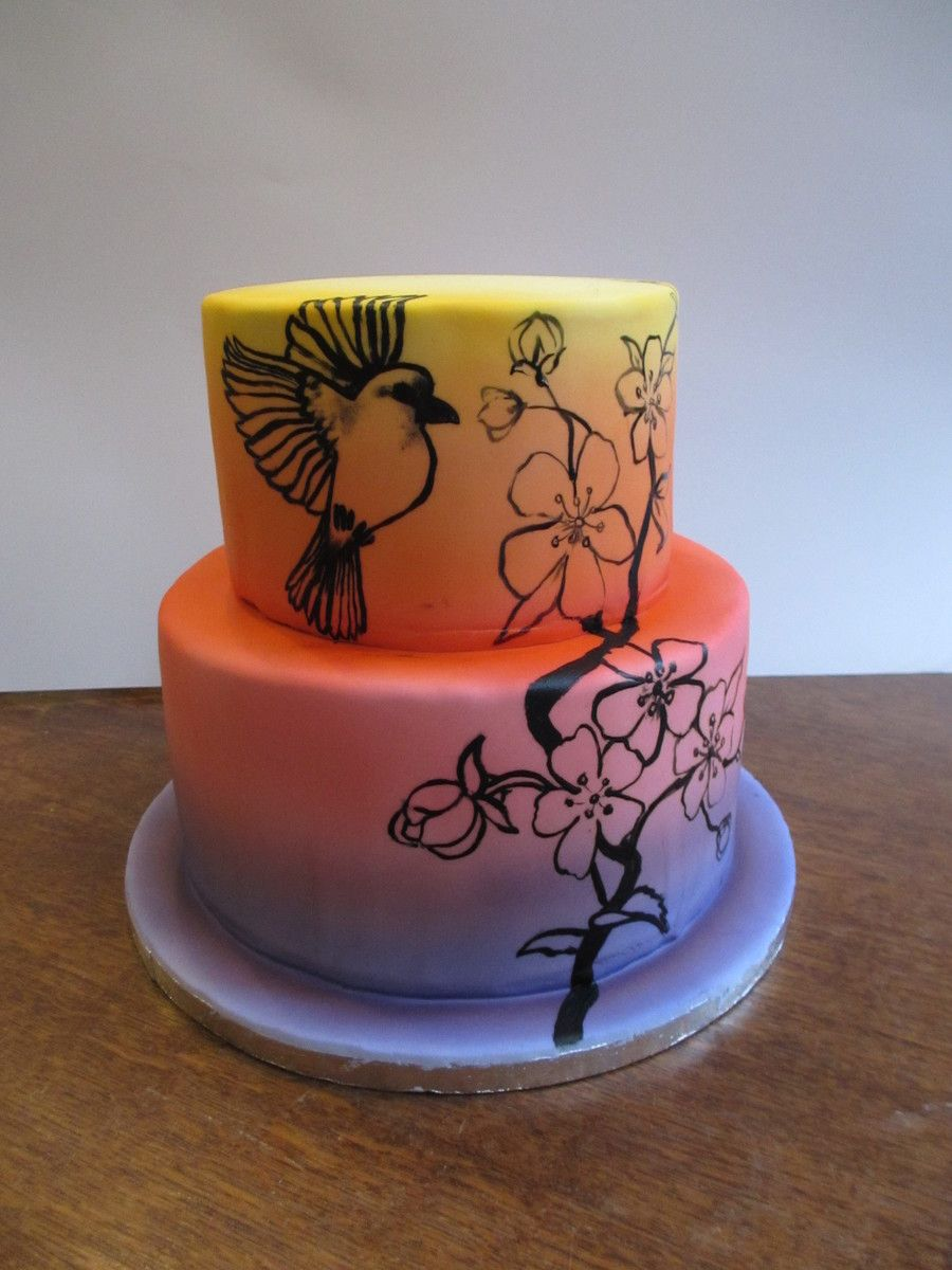 Airbrushed cake with painting i just started experimenting