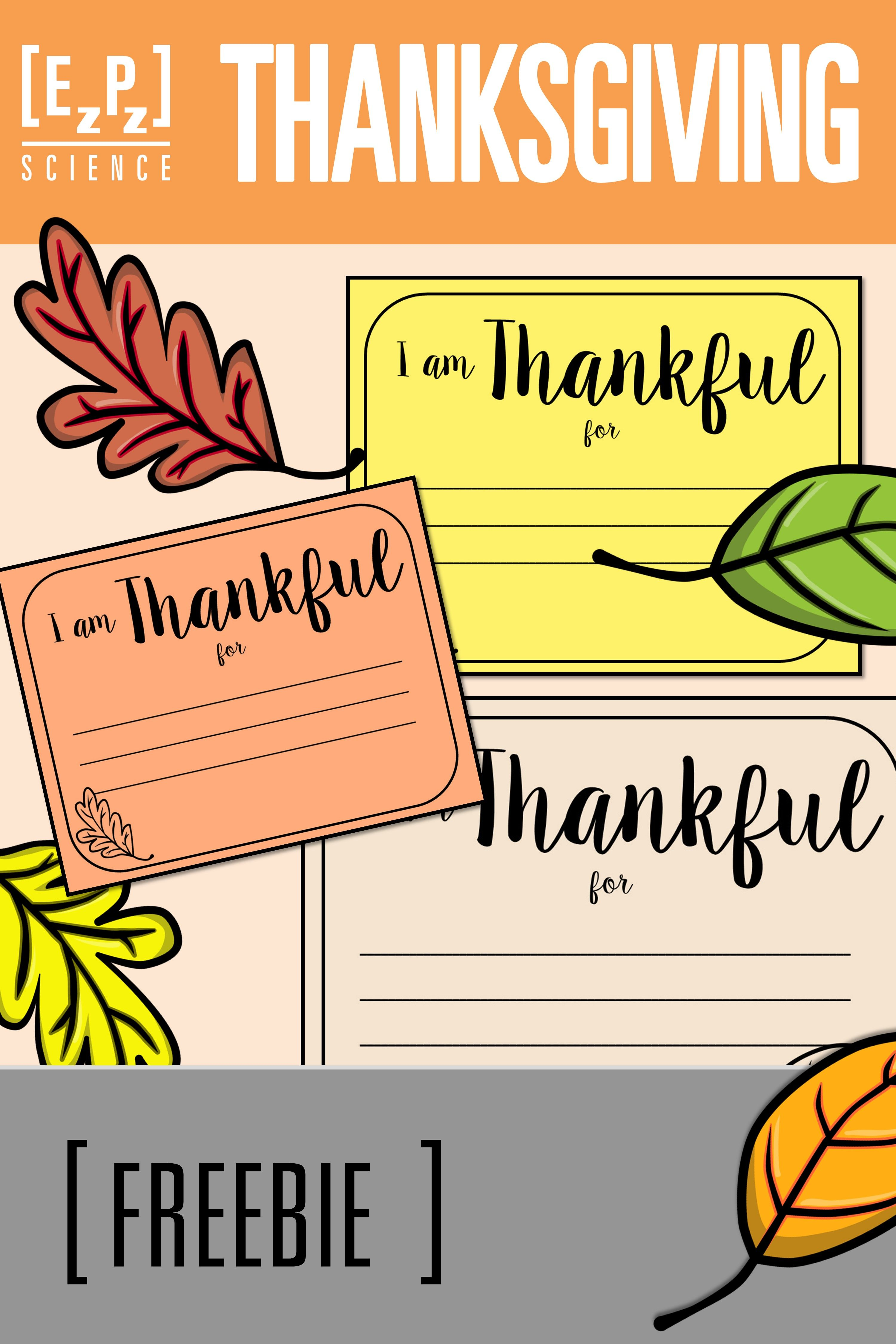 "Thanksgiving ""I am Thankful for...."" Freebie Teachers"