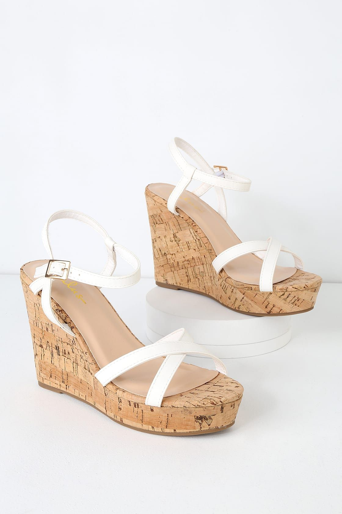 181641444 Cute White Wedge Sandals - Vegan Leather Wedge Sandals - Wedges